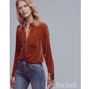 Anthropologie style crushed velvet button down